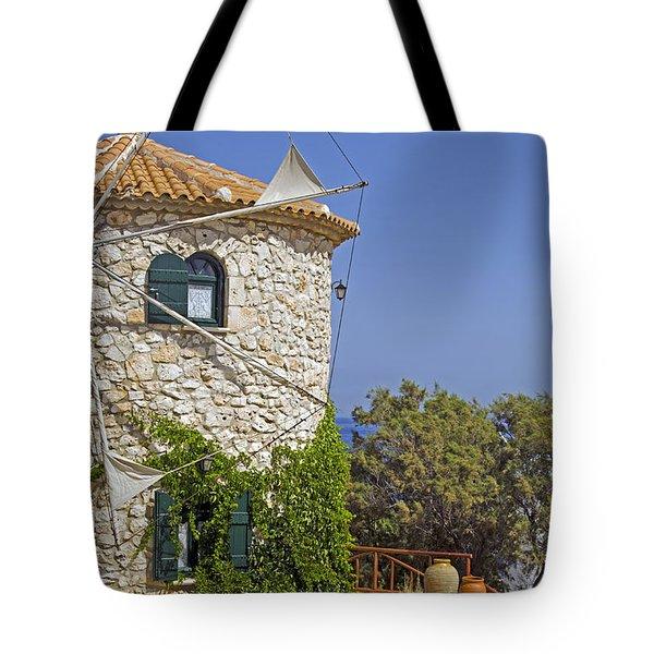 Greek Windmill Tote Bag by Rainer Kersten