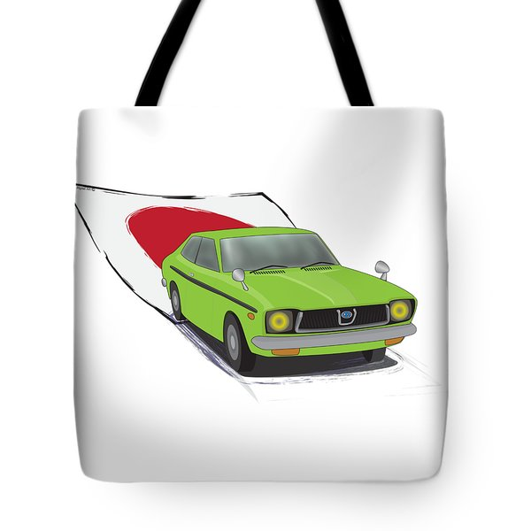 Green 70s Subaru Dl Leone Illustration, With The Japanese Flag Behind  Tote Bag