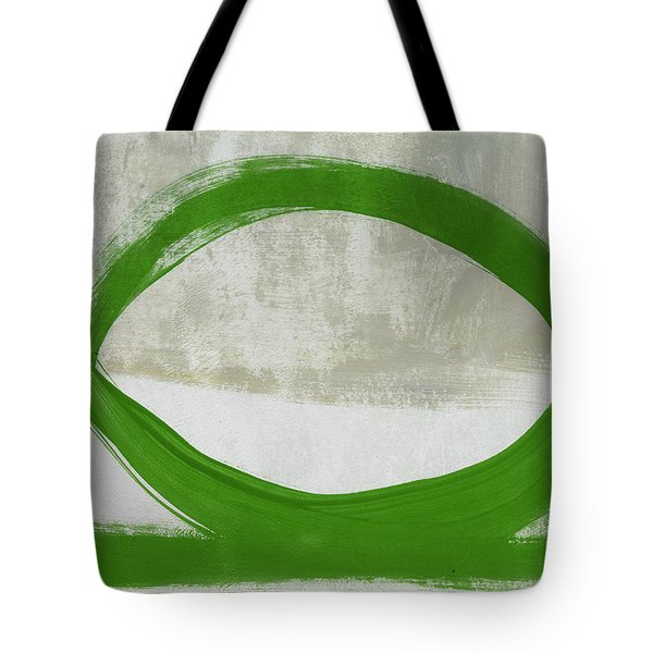 Green Abstract Circle Vertical- Art By Linda Woods Tote Bag