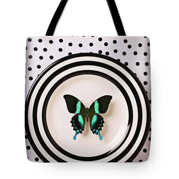 Green And Black Butterfly On Plate Tote Bag