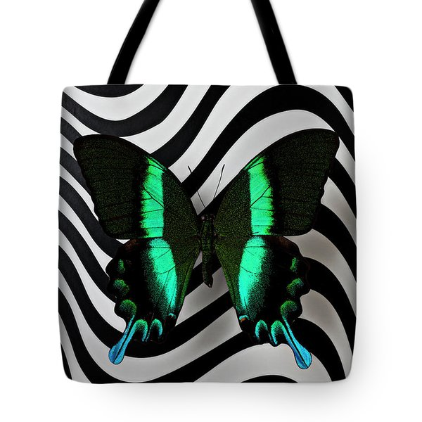 Green And Black Butterfly On Wavey Lines Tote Bag by Garry Gay