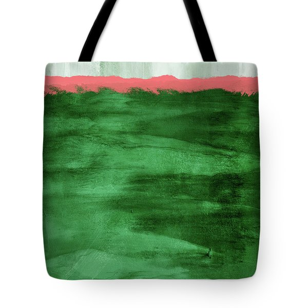 Green And Coral Landscape- Abstract Art By Linda Woods Tote Bag