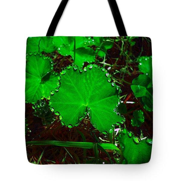 Green And Drops Tote Bag