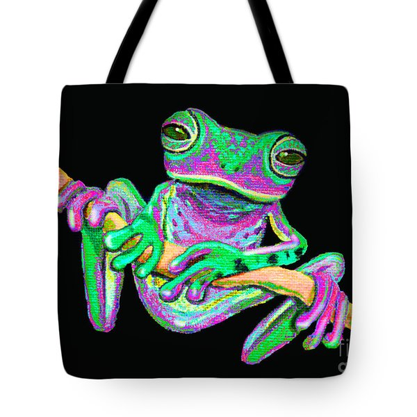 Green And Pink Frog Tote Bag by Nick Gustafson