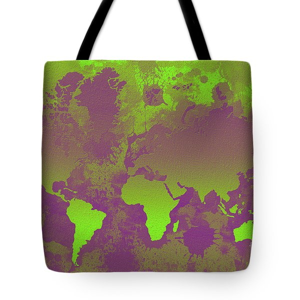 Green And Purple World Map Tote Bag