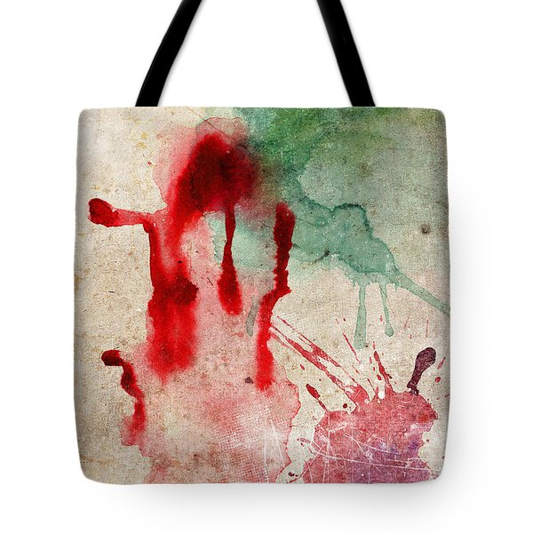 Green And Red Color Splash Tote Bag