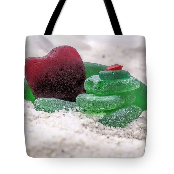 Green And Red Seaglass  Tote Bag