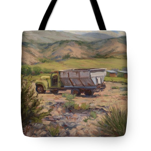 Green And Silver Truck Tote Bag