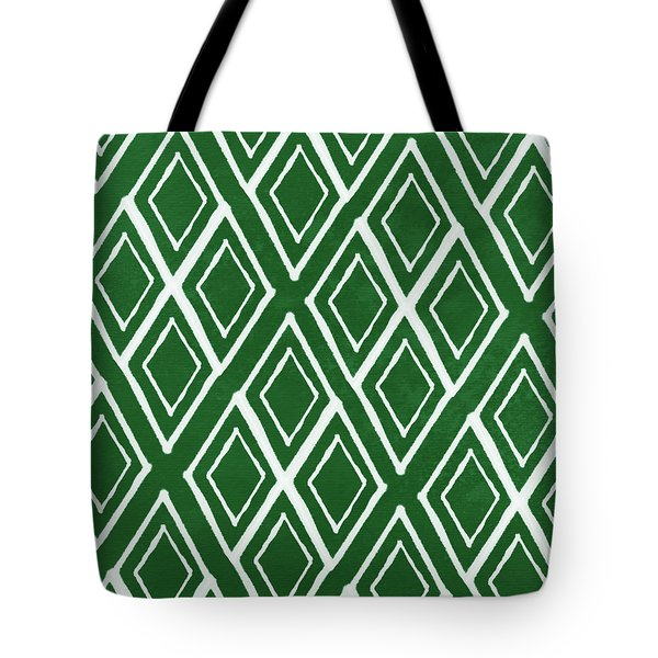 Green And White Diamonds- Art By Linda Woods Tote Bag