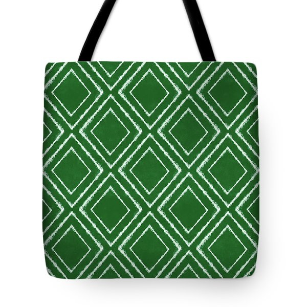 Green And White Inky Diamonds- Art By Linda Woods Tote Bag