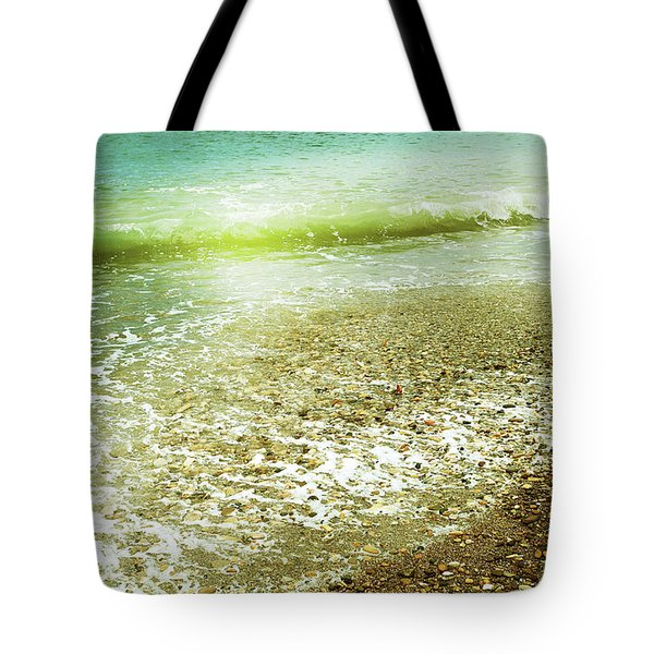 Green And Yellow Waves At Montana De Oro Beach In Spooners Cove Tote Bag