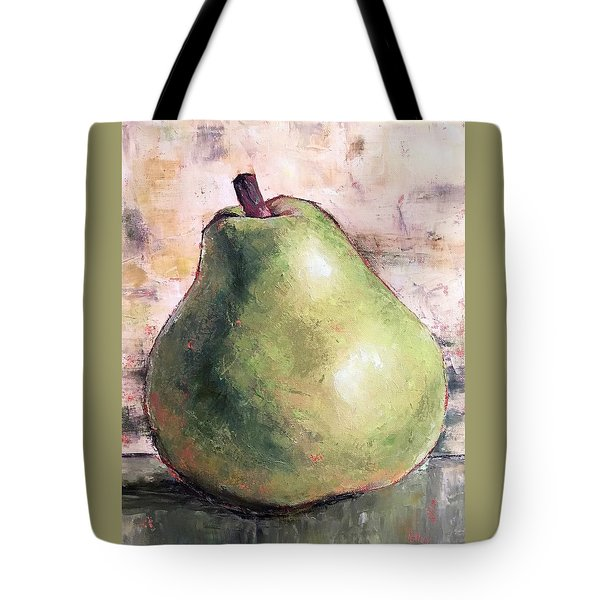 Tote Bag featuring the painting Green Anjou Pear by Pam Talley