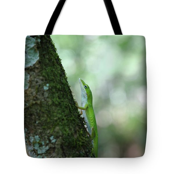 Green Anole Climbing Tote Bag