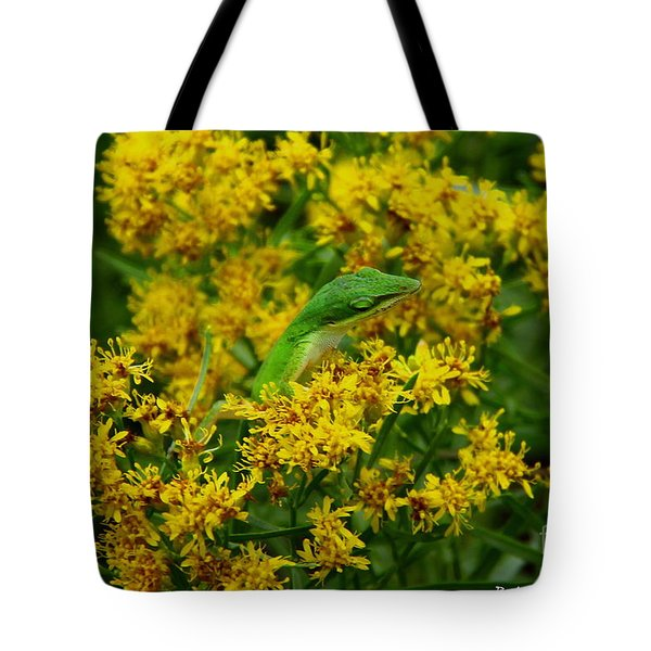 Green Anole Hiding In Golden Rod Tote Bag
