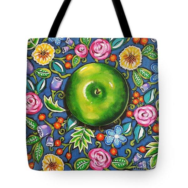Green Apple Tote Bag by Sandra Lett