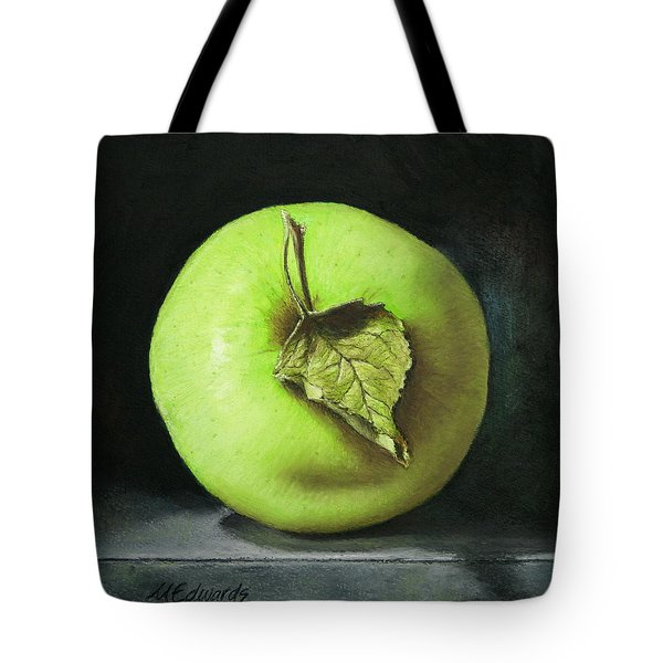Green Apple With Leaf Tote Bag