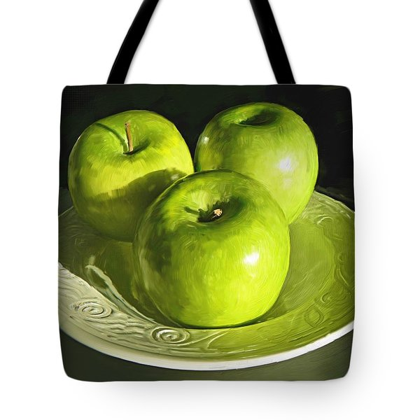 Green Apples In A White Bowl Tote Bag