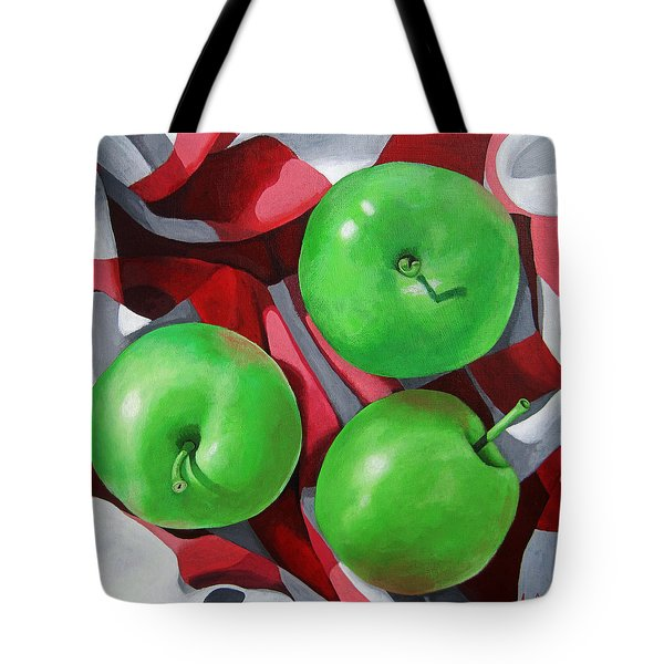 Green Apples Still Life Painting Tote Bag