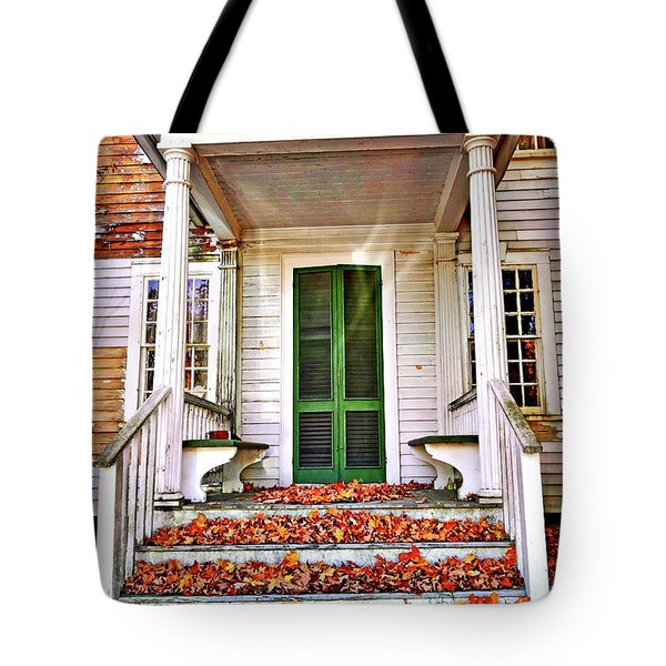 Green Autumn Door Tote Bag