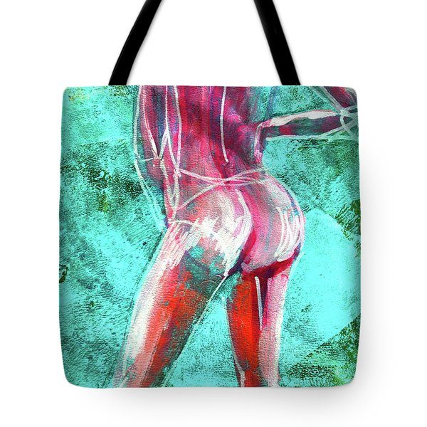 Tote Bag featuring the painting Green Back Figure No. 4 by Nancy Merkle
