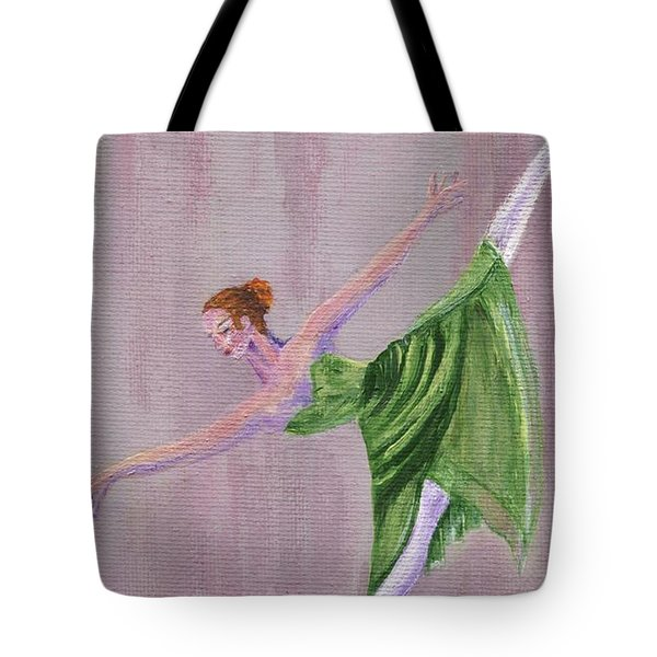 Tote Bag featuring the painting Green Ballerina by Jamie Frier