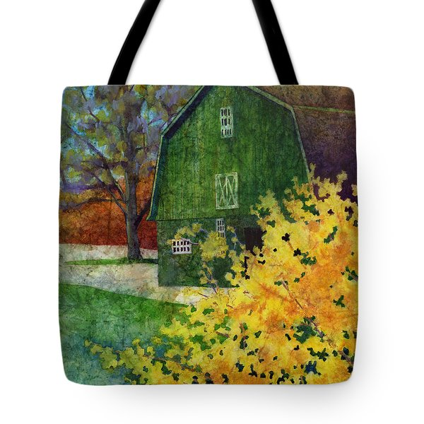 Tote Bag featuring the painting Green Barn by Hailey E Herrera