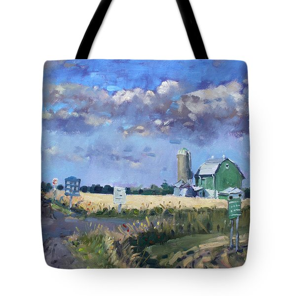 Green Barn In Glen Williams On Tote Bag