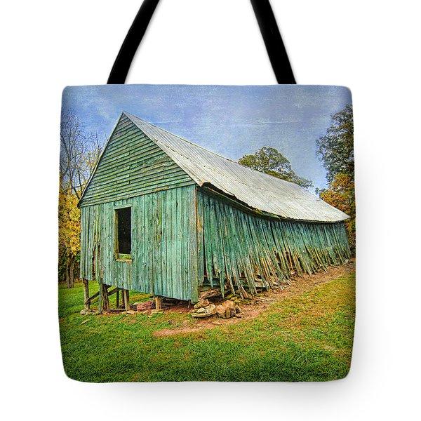 Green Barn Tote Bag by Marion Johnson
