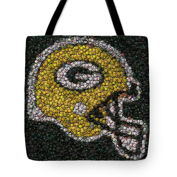 Green Bay Packers Bottle Cap Mosaic Tote Bag by Paul Van Scott