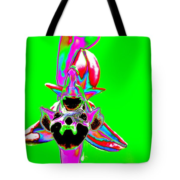 Green Bee Orchid Tote Bag