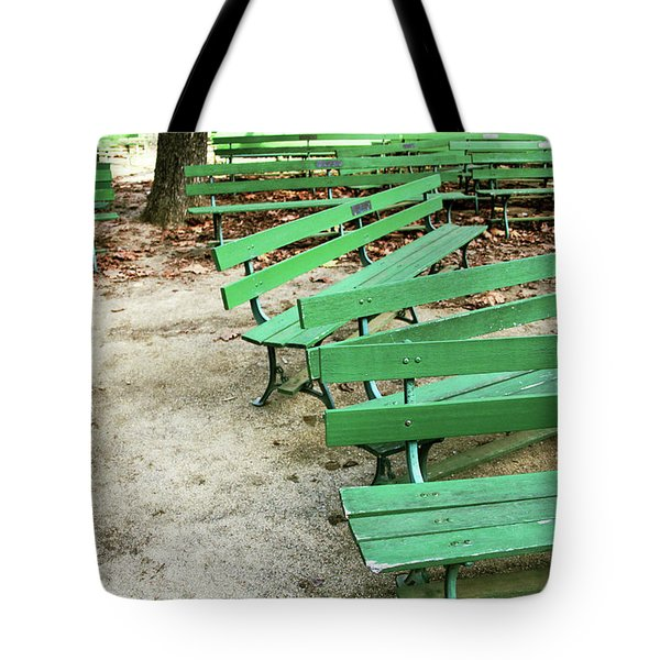 Green Benches- Fine Art Photo By Linda Woods Tote Bag by Linda Woods
