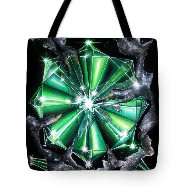 Green Beryl Crystals In Space Tote Bag