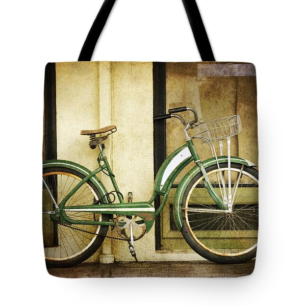 Green Bicycle Tote Bag