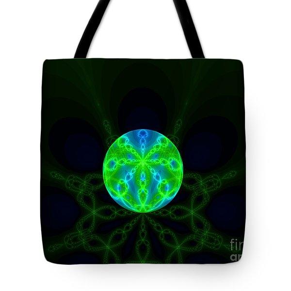 Green Blue World Fractal  Tote Bag