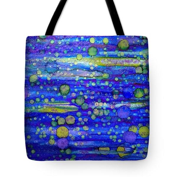 Green Bubbles In A Purple Sea Tote Bag