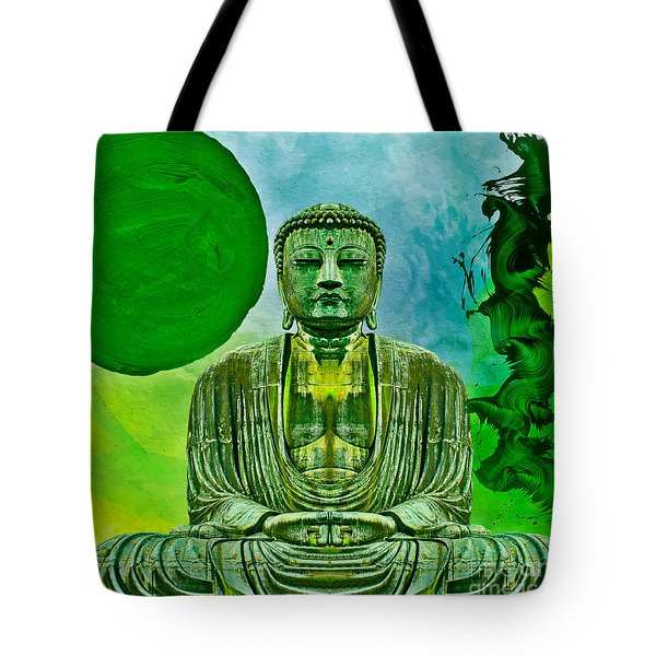 Tote Bag featuring the mixed media Green Buddha by Lita Kelley