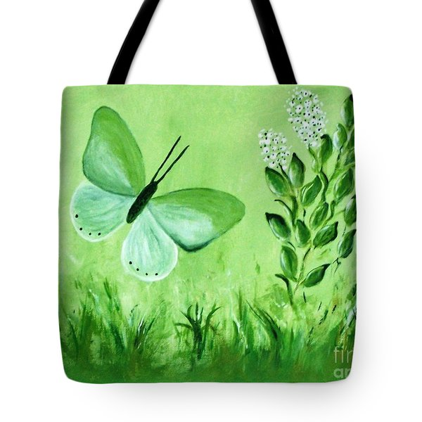 Tote Bag featuring the painting Green Butterfly by Sonya Nancy Capling-Bacle