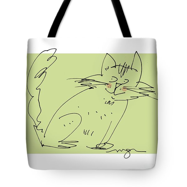 Green Cat Tote Bag