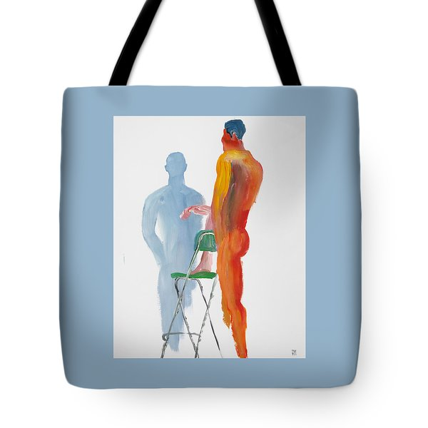Tote Bag featuring the painting Green Chair Blue Shadow by Shungaboy X