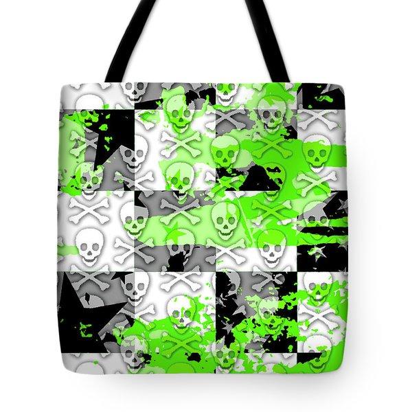 Green Checker Skull Splatter Tote Bag