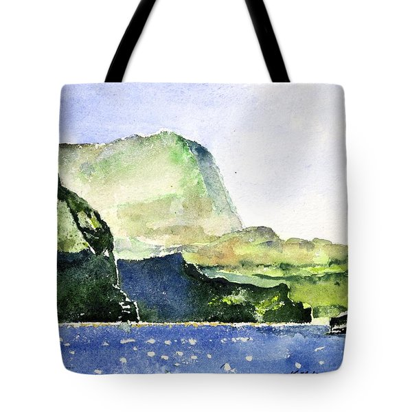 Green Cliffs And Sea Tote Bag