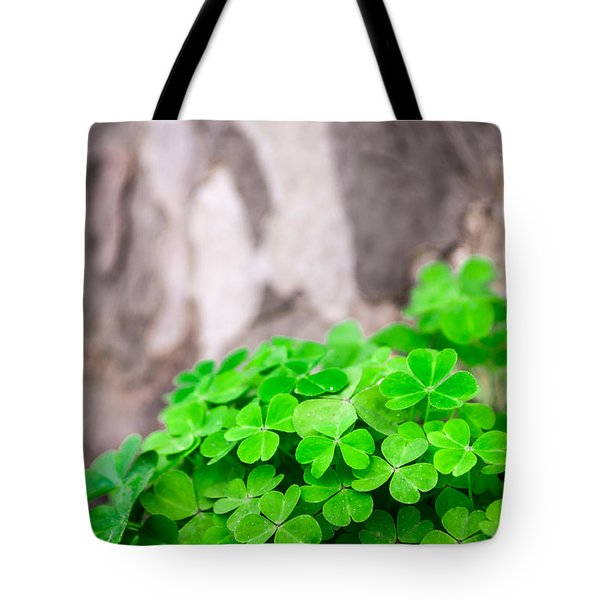 Green Clover And Grey Tree Tote Bag by John Williams