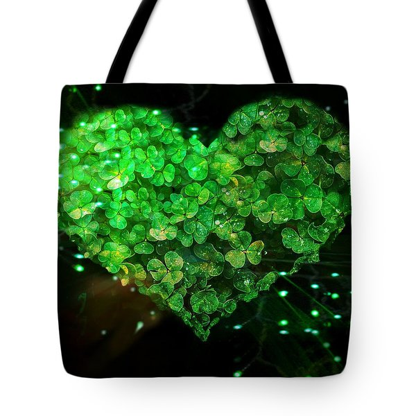 Green Clover Heart Tote Bag