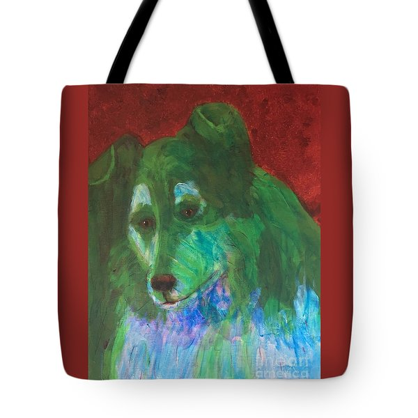 Green Collie Tote Bag by Donald J Ryker III