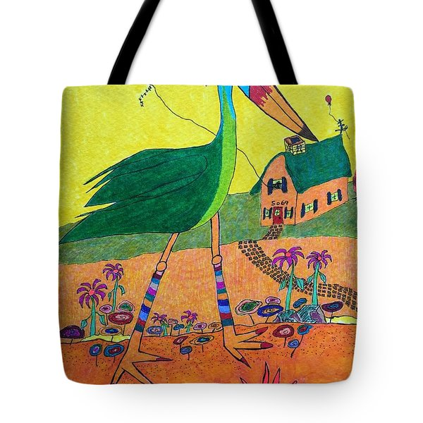 Green Crane With Leggings And Painted Toes Tote Bag