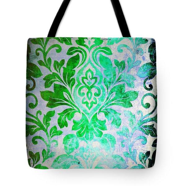 Green Damask Pattern Tote Bag