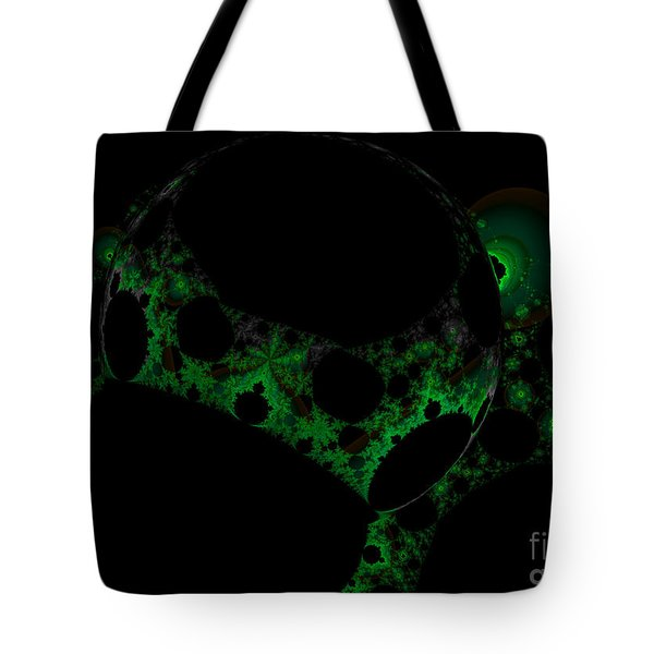 Green Darkness Galaxy Fractal  Tote Bag
