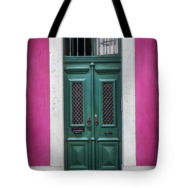 Green Door In Lisbon Tote Bag