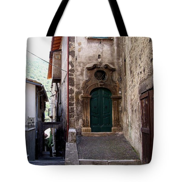 Tote Bag featuring the photograph Green Door by Judy Kirouac