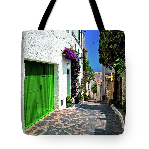 Tote Bag featuring the photograph Green Door Passage  by Harry Spitz